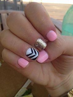 Gel nails. Gel polish. Gel design. Shellac. Opi. Pink gel polish design. Black & while. Glitter. Sparkles. Manicure. Gel chevron. Stripes. Gold.