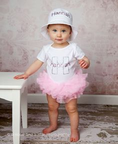 Personalized Initial Name Bling Tutu Onesie @ Baby Bling Things Boutique