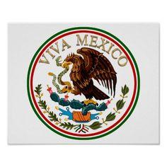 Viva #Mexico Mexican Flag Icon w/ Gold Text Print by #gravityx9 --