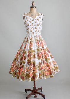 1950s Peach Garden Sundress