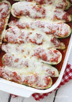 Sausage Stuffed Zucchini Boats by skinnytaste #Zucchini #Sausage #skinnytaste