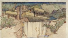 """Fallingwater Edgar J. Kaufmann House, Mill Run, PA. 1934-37. """"The Frank Lloyd Wright Foundation Archives (The Museum of Modern Art   Avery Architectural & Fine Arts Library, Columbia University, New York)"""""""