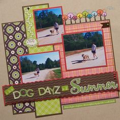 The Dog Dayz of Summer - Scrapbook.com Layout.....like the angle and simplicity of this page...plus multiple photos!