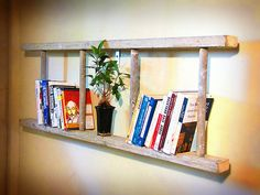Antique wooden bookshelf ladder cream painted by naturallycre8tive