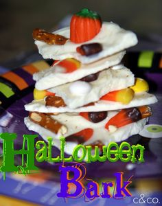YUM!   Halloween Bark - Need to make this! #Halloween #recipes