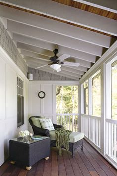 Small craftsman screened porch.  Shingles. Warm wood ceiling with white beams. A Craftsman Re-Creation | Architecture | Home Design Magazine