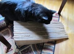 Meow! How to Make Kitty Scratching Furniture >> http://blog.diynetwork.com/maderemade/how-to/cat-scratching-furniture-ramp-corrugated-cardboard-diy/?soc=pinterest