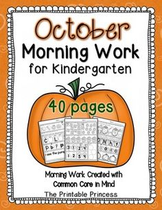 October morning work for Kindergarten. 40 pages of reading and math activities. Great for getting kids to focus before instruction begins.