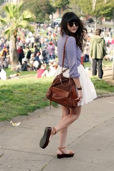 Tied Blue Checkered Button Up Shirt + White A-line Skirt + Sandals + Brown Leather Bag