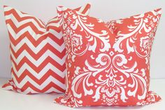 Introducing an accent color to our living room with pillows: Coral Damask Pillows.SET OF TWO.18x18 inch.Pillow.Home Decor.Decorator Pillow Cover..Printed Fabric Front and Back. $34.00, via Etsy. ElemenOPillows