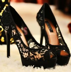 Euro Sexy Peep-Toe Lace Waterproof Stiletto Shoes - BuyTrends.com