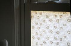 window film, fabric window, window treatment, spray starch, films, windows, bathroom, diy, window coverings