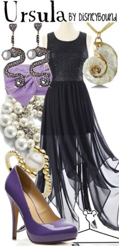 """""""Ursula"""" ~ Based on Disney's classic The Little Mermaid, comes this villain inspired look of the evil sea witch. Designed by Leslie Kay or also known as the designer of Disneybound outfits. Can be found on Polyvore or her personal shop or tumblr account."""