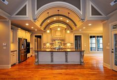 Epic kitchen from the Clarkson Plan 1117! Fabulously open, with a #custom barrel vaulted ceiling. See the #floorplan here: http://www.dongardner.com/plan_details.aspx?pid=3007