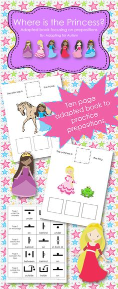 Adapted book - Where is the Princess? Students choose the correct preposition after looking at the picture and finding the princess.