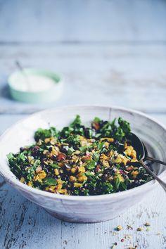 Black rice, kale and aubergine pilaf by Green Kitchen Stories. Yum! #kikkiK