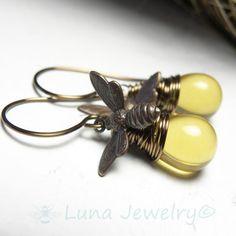Honey Bee Jewelry Vintaj Brass Earrings with Wire Wrapped Honey Drops on Etsy, $28.00