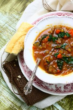 Kale Kielbasa Lentil Soup.  Hearty, healthy, delicious.  Turkey kielbasa cuts down on the fat but keeps the flavor and the lentils and veggies? You know they're packed with fiber.  Adding Kale? This just made my love for this recipe even stronger.