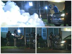 Al Jazeera crew hit with nearby tear gas, then a swat team disassembles the camera.