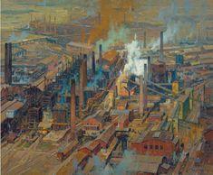 Bird's Eye View of Large Steel Mills by Erich Mercker