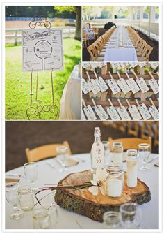 Beautiful DIY rustic centerpieces and escort cards.