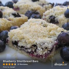Blueberry Shortcake Bars | Buttery shortbread is baked in a pan topped with blueberries and shortbread crumbles for quick and easy bar cookies.