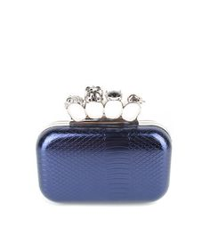 Skulls and Knuckles Clutch in Navy