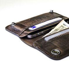 iPhone - - RETROMODERN aged leather wallet - - DARK BROWN, via Etsy.