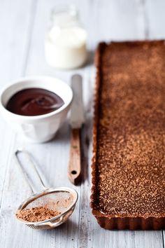 *Gluten free chocolate caramel banana tart.
