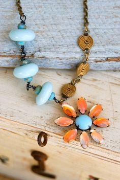 Annabelle.boho,long,vintage glass rhinestone flower necklace. Tiedupmemories