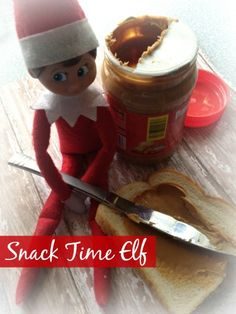 Snack Time Elf! Elf is hungry from all the overnight flying! Over 25 Easy Elf on the Shelf Ideas to Get Creative with Your Elf This Year!