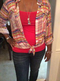 CAbi Cirque Shirt, Strawberry Cami, Vintage Jeans