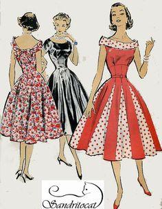 1950s Advance 8551 PrettyasaPrincess Empire Evening by sandritocat, $60.00