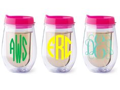 Personalized Bev2go stemless wine glass Pink lid by Dawlens