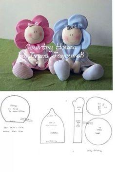 boneca flor, sew, doll, felt, pattern, muñeca, bebe, muñeco, babi flower