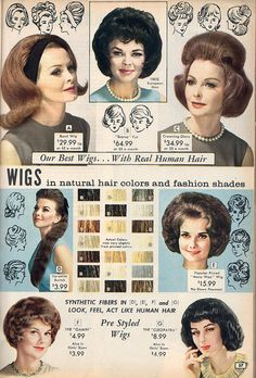 Popular wig styles from the NBH catalog, 1964. #vintage #1960s #hair #wigs #catalogs