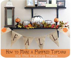 halloween decor, diy halloween, pumpkin topiari, fall crafts, halloween pumpkins