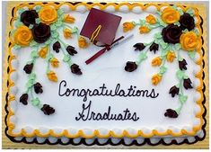 Graduation Cake 1 Large Floral This Is A Full Sheet That