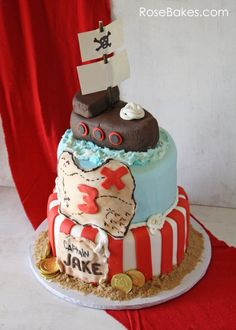 pirate ship cake tutorial | ve had Jake's Pirate Ship cake ready to post for weeks and I ...