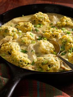 Salsa Verde Chicken with Herbed Cornmeal Dumplings.  I added 2 cups of water to make it saucier.  And, we like to add chips to ours when serving.