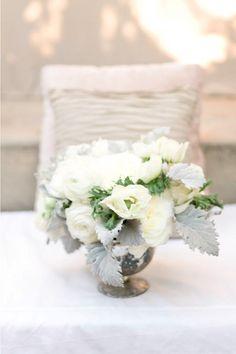 white flowers, silver vase