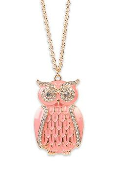 Deb Shops #pink #owl #necklace