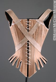 Stays (1785-90) with curious straps that wrap around the front of the corset. centuri stay, museums, 18th centuri, hooks, number, front hook corset, vintag corset, 17851790, mccord museum