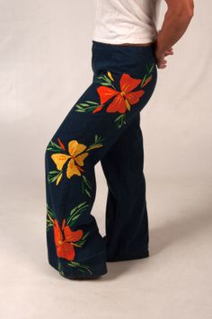 Vintage Hippie Bell Bottom Embroidered Denim Jeans, on Etsy at RetroRosiesVintage, $115.00