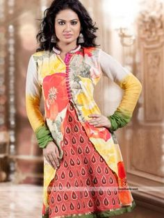 Get simple yet trendy look wearing this kurti designed with additional jacket. Multicolor beautiful floral printed jacket with printed inner gives it stylish look. It will look good for evening and semi-formal parties. http://goodbells.com/kurtis/trendy-floral-printed-multicolor-kurti-tunic.html