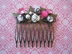 Pretty in Pink Hair Comb by wynbrit on Etsy, $32.00