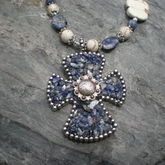 Chunky Cowgirl Chic Denim Blue Sodalite Cross by BijouBySAM, $58.00