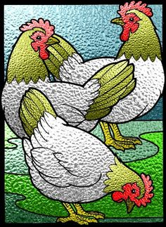 12 Days of Christmas, Day 3 - Three French Hens symbolize The three virtues of Faith, Hope and Charity/Love (1 Corinthians 13:13)    Three French Hens - Stained Glass