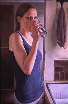 Suzanne Vincent . Cool Drink of Water . egg tempera on panel
