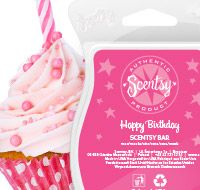 """The #HappyBirthday #ScentsyBar smells like a """"candy-licious"""" confection of sparkling #sugar, fluffy #whippedcream, and vanilla extract. #JustAWickAway #Scentsy #Fragrance"""
